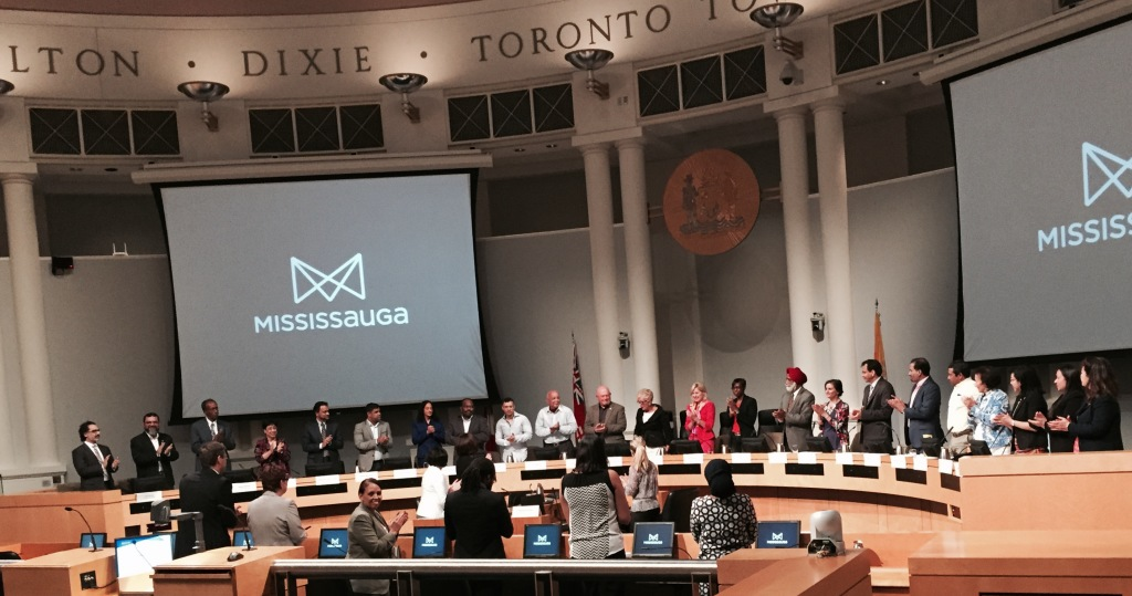 Mayor Crombie, Councillor Sue McFadden (Ward 10), and Councillor Ron Starr (Ward 6), with members of the Diversity and Inclusion Advisory Committee, during the inaugural meeting in Council Chambers at Mississauga City Hall.