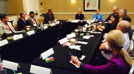 Mayor Bonnie Crombie and Susan Amring, Director of Economic Development, host a roundtable discussion about Mississauga's thriving life sciences sector during the 2015 BIO International Convention in Philadelphia.