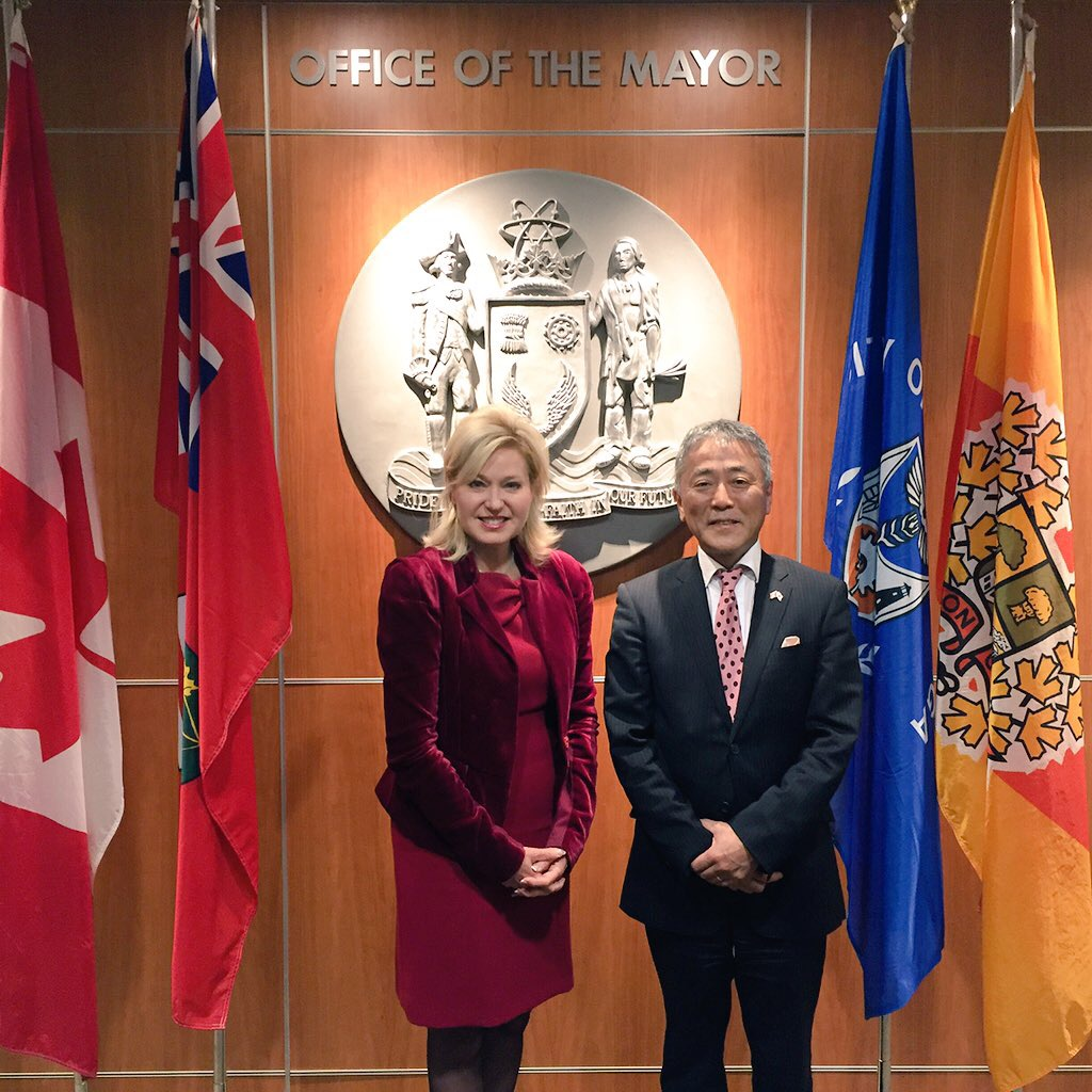 Mayor Crombie welcomes Japanese Consul General Yasunori Nakayama to Mississauga City Hall.