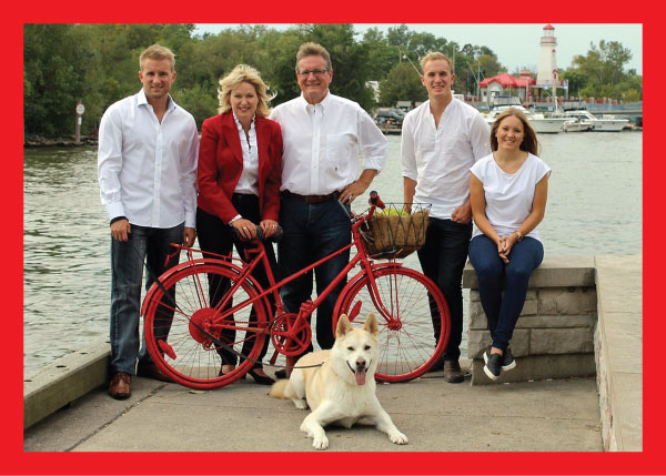 Mayor Crombie, joined by her husband Brian, children Alex (left), Jonathan, Natasha, and the family dog, Adonis., in Port Credit.