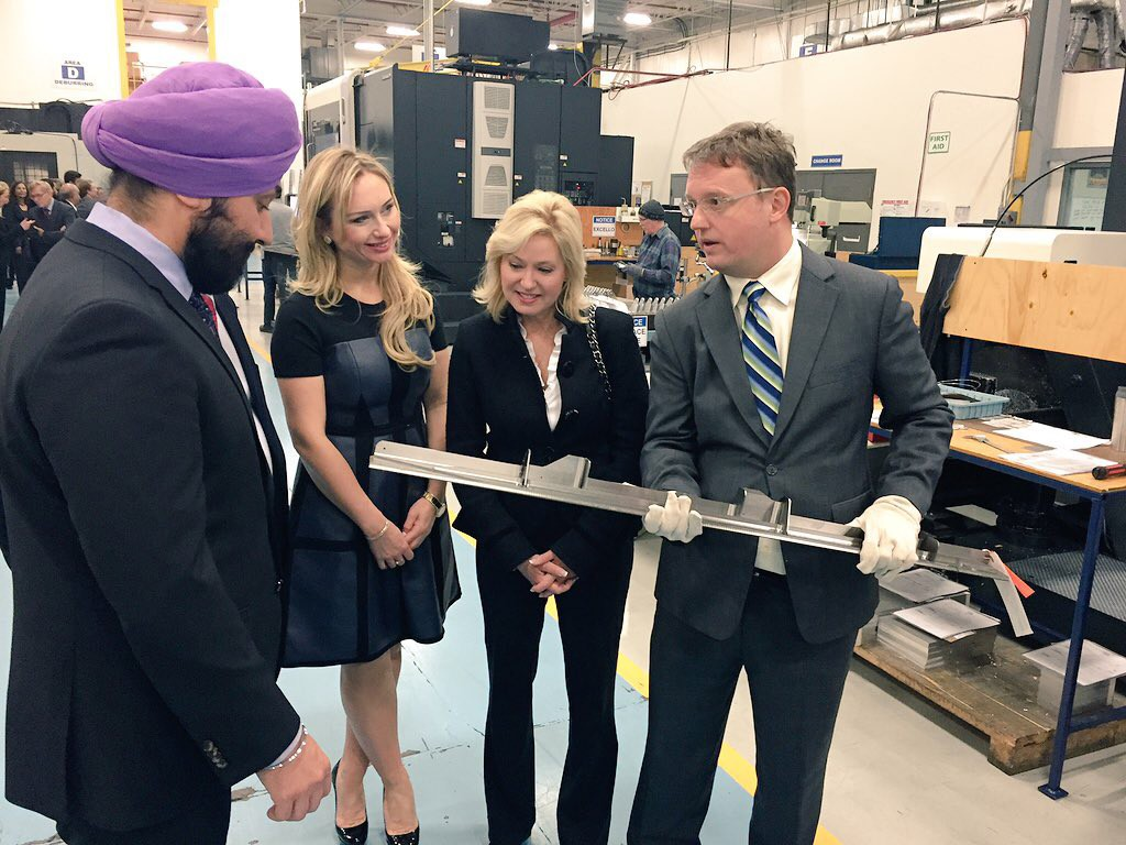 Mayor Crombie and Minister Bains (MP Mississauga-Malton) inspect material produced by Cyclone Manufacturing Incorporated, at the company's Mississauga location.