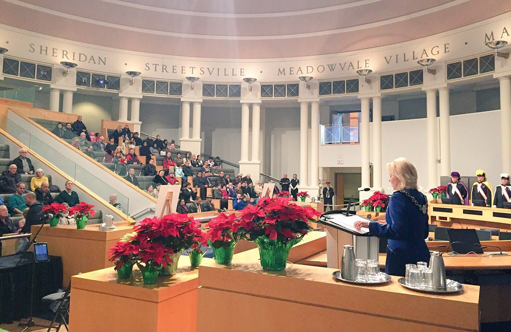 Mayor Crombie delivering her speech in Council Chambers at Mississauga City Hall.