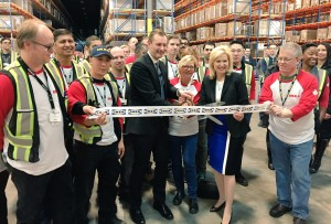 Mayor Crombie, Stefan Sjöstrand, President of IKEA Canada, cut the ribbon and formally open the new IKEA distribution centre in Mississauga.