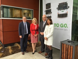 Mayor Crombie, Minister Del Duca, MPP Damerla, and Bruce McCuaig, President and CEO, Metrolinx, at the Square One GO Bus Terminal.