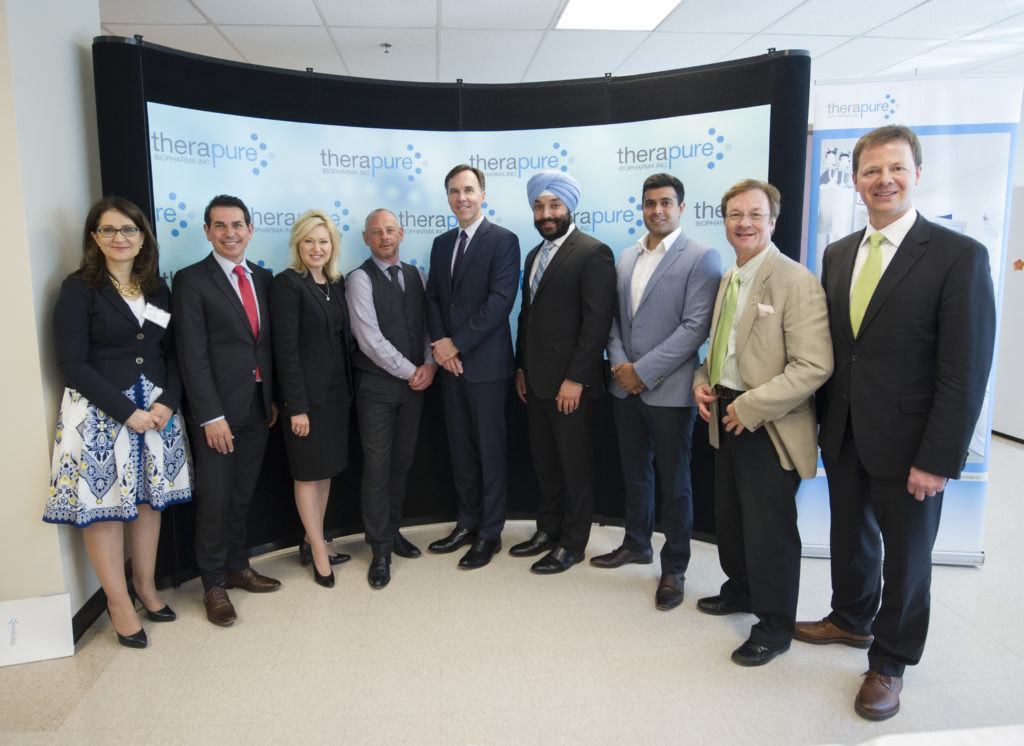 Mayor Crombie was joined by Minister of Finance Bill Morneau; Navdeep Bains, Minister of Innovation, Science and Economic Development; Members of Parliament Peter Fonseca (Mississauga East-Cooksville); Gagan Sikand (Mississauga-Streetsville); Sven Spengemann (Mississauga-Lakeshore); and Member of Provincial Parliament Bob Delaney (Mississauga-Streetsville), for a tour of Therapure Biopharma, a global biomanufacturing company in Mississauga. THE CANADIAN PRESS IMAGES/J.P. Moczulski.