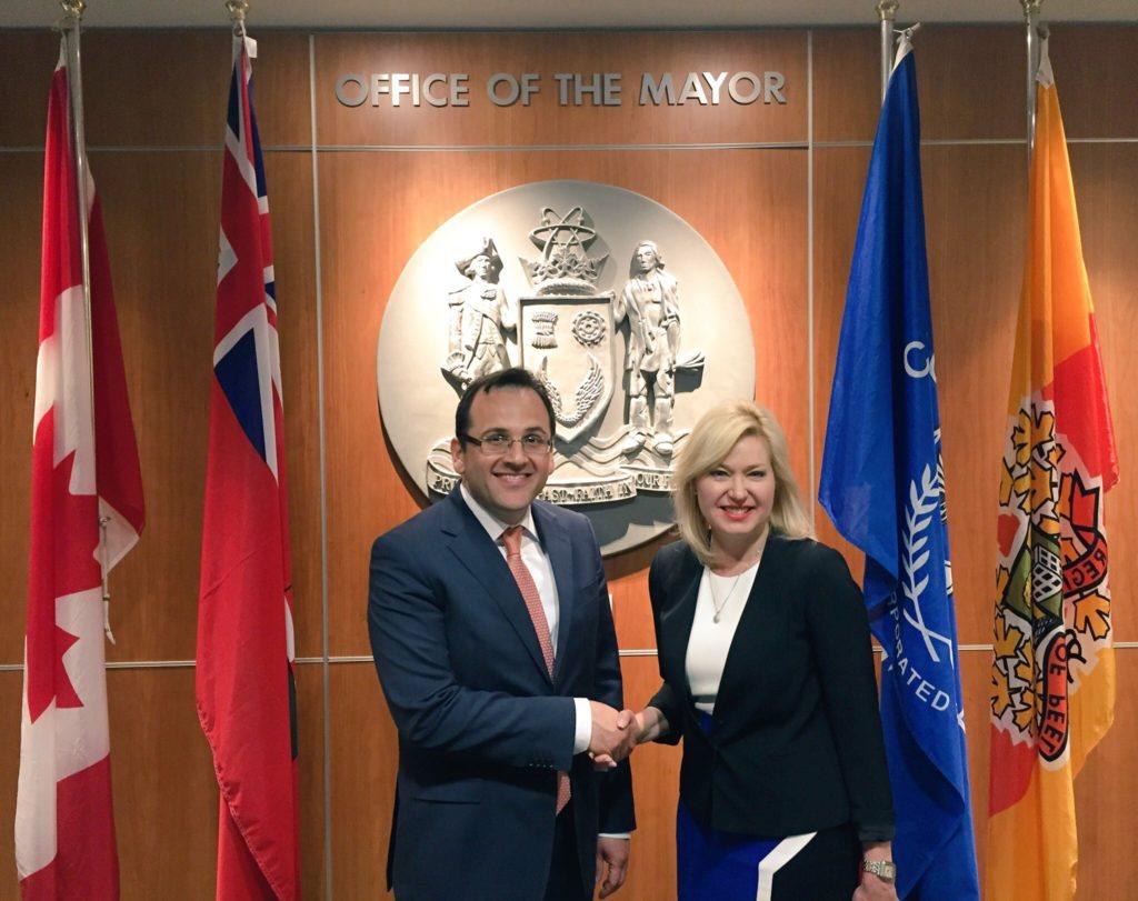 Mayor Crombie welcomes to City Hall Turkish Consul General Erdeniz Şen.