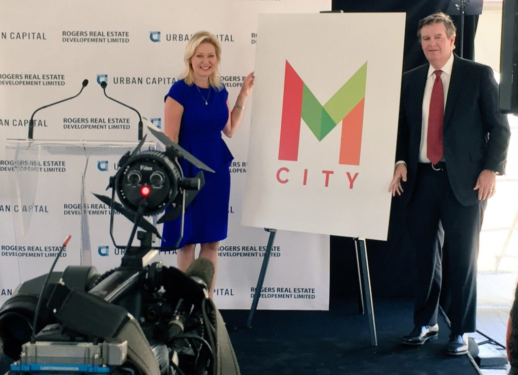 Mayor Crombie and Edward Rogers unveil the new M City logo for the planned to new development in Downtown Mississauga.
