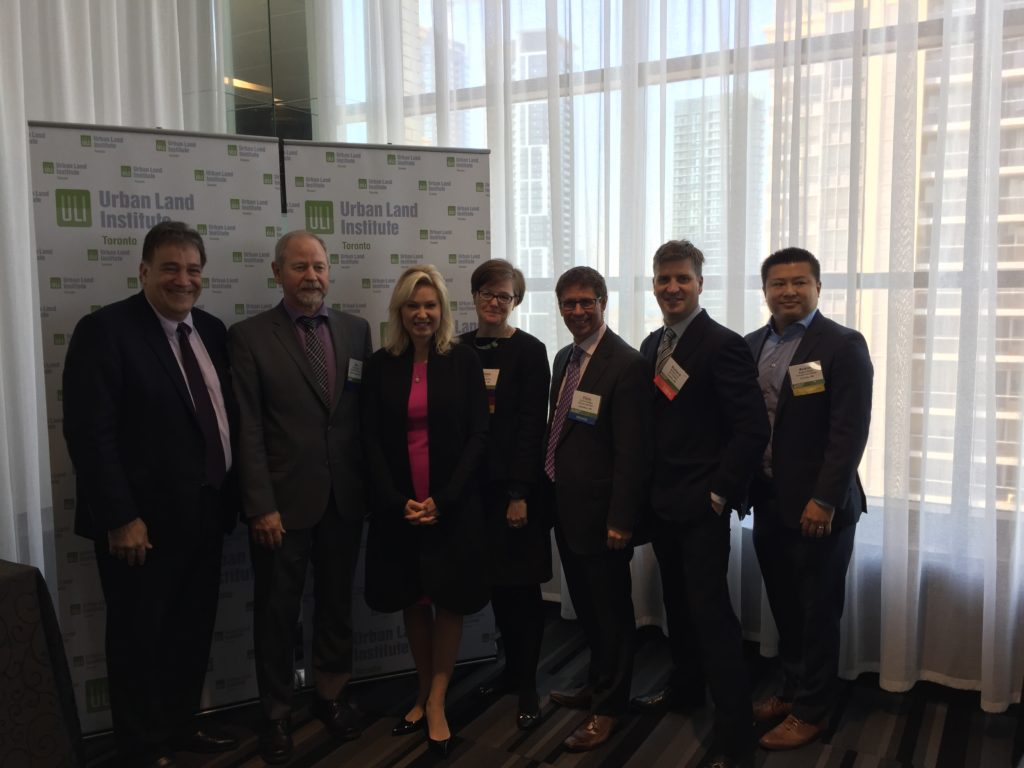Mayor Crombie joined by participants during a panel discussion hosted by the Urban Land Institute: Waterfront 905: Exploring the GTHA's Dynamic Development Frontier.